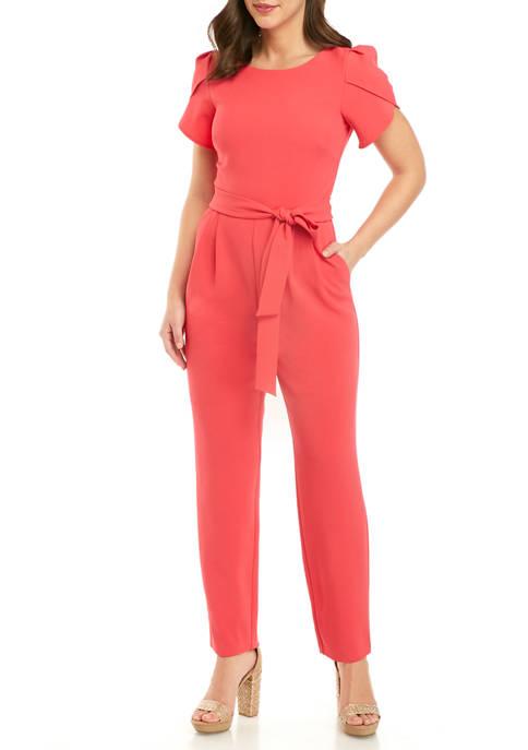 J Howard Womens Petal Sleeve Jumpsuit with Tie