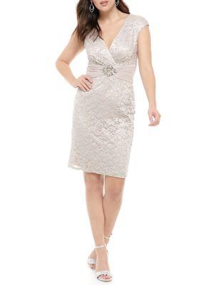 Jessica Howard Womens Cap Sleeve Glitter Lace Dress