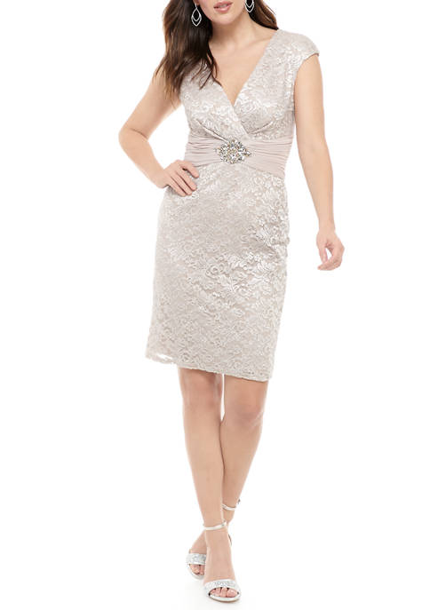 Jessica Howard Womens Cap Sleeve Glitter Lace Dress