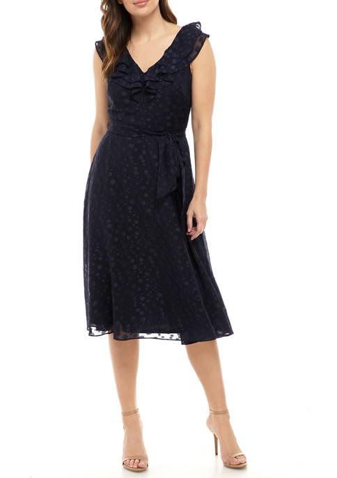 Womens Ruffle Tie Waist Dress