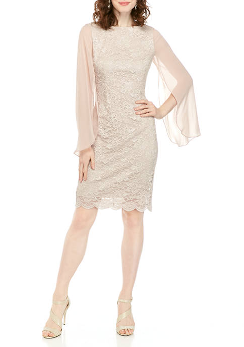 Jessica Howard Womens Split Chiffon Sleeve Glitter Dress