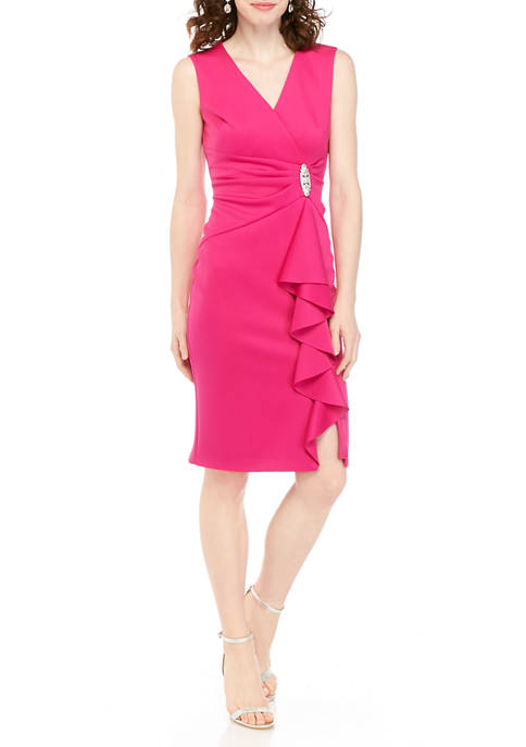 Womens Sleeveless Ruffle Scuba Dress
