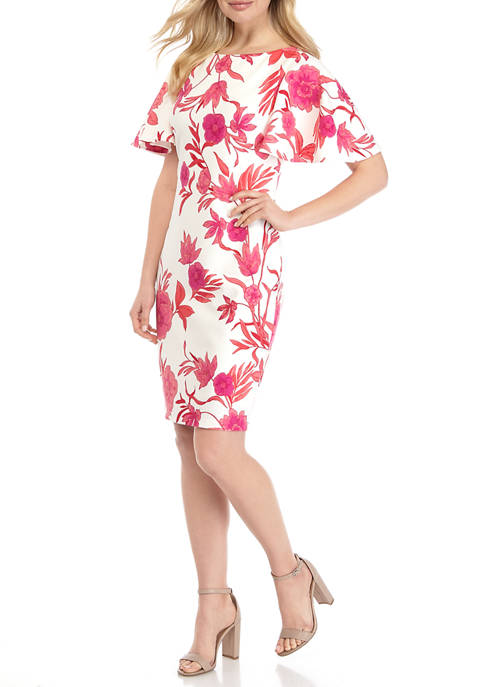Jessica Howard Womens Flutter Sleeve Floral Dress
