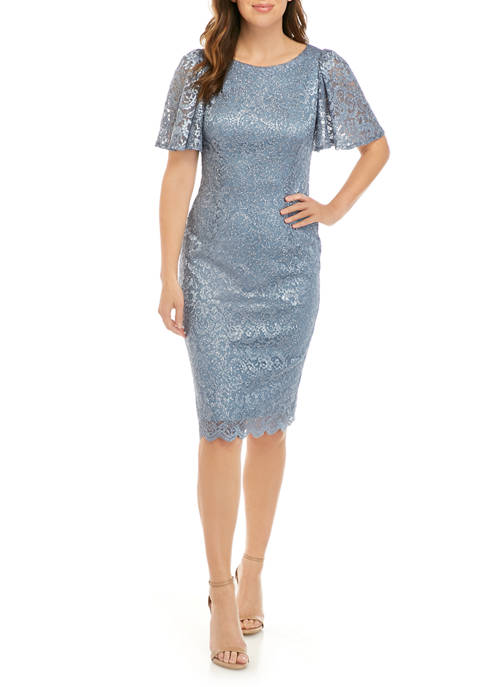J Howard Womens Flutter Sleeve Glitter Sheath Dress