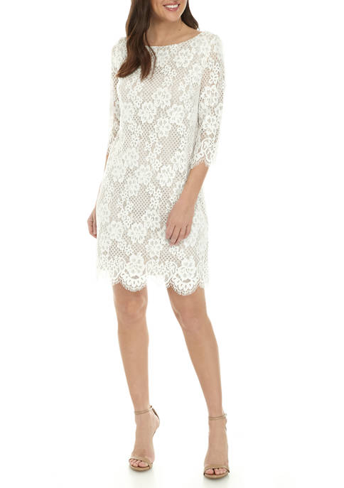 Womens 3/4 Sleeve Scallop Hem Shift Dress