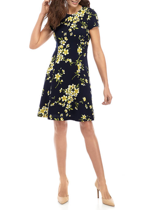 Jessica Howard Womens Floral Textured Fit and Flare