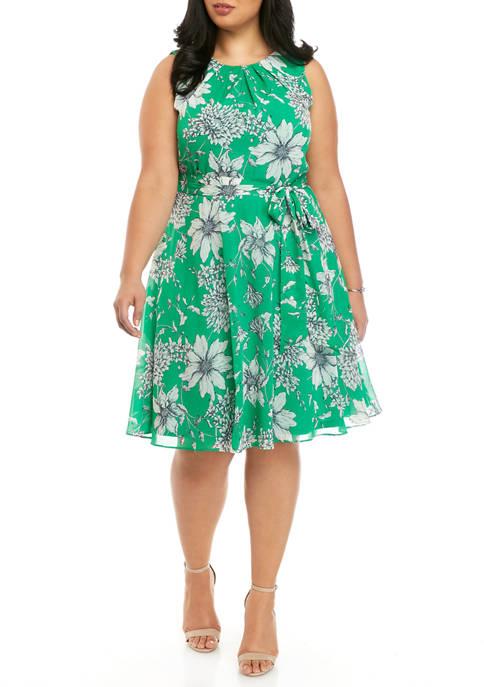 J Howard Plus Size Sleeveless Floral Tie Waist