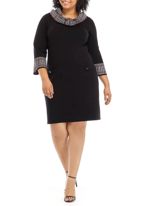 Jessica Howard Plus Size Houndstooth Cowl Neck Sweater