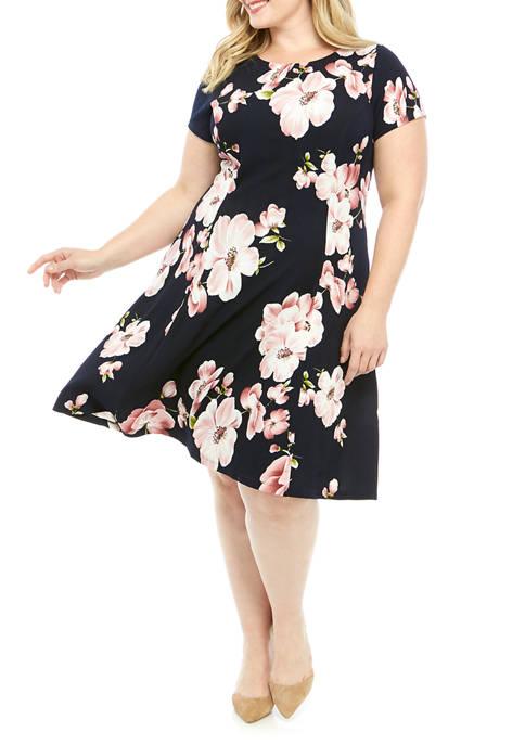 Plus Size Short Sleeve Floral Print Dress