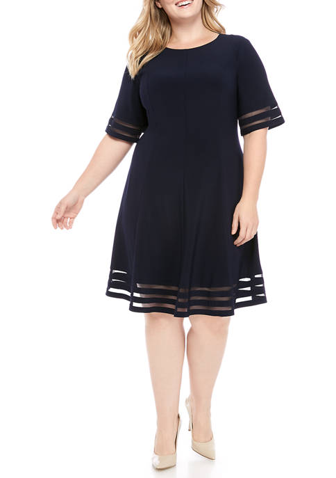 Jessica Howard Plus Size Short Sleeve Illusion Woven