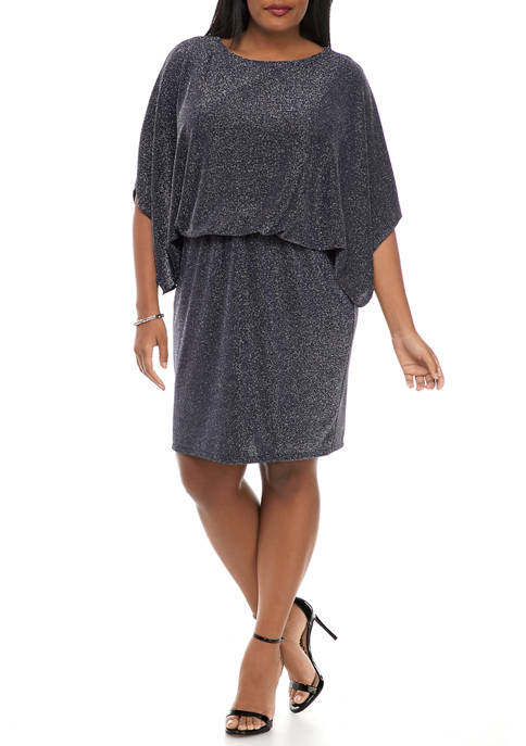 Jessica Howard Plus Size 3/4 Sleeve Glitter Knit