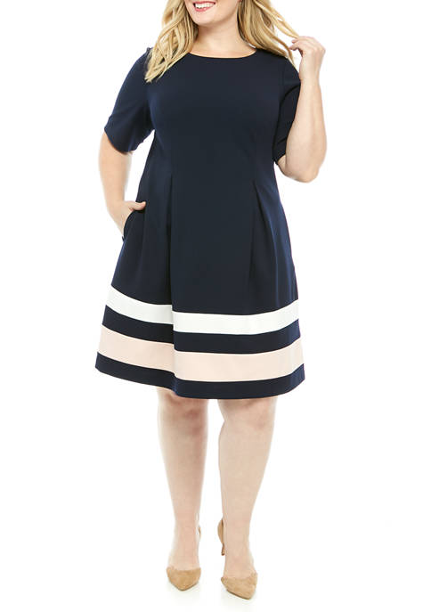 Plus Size Elbow Sleeve Release Pleated Striped Dress
