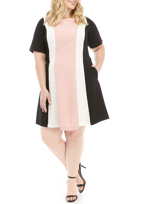 Jessica Howard Plus Size Short Sleeve Color Block
