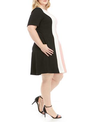 Plus Size Short Sleeve Color Block Woven Dress