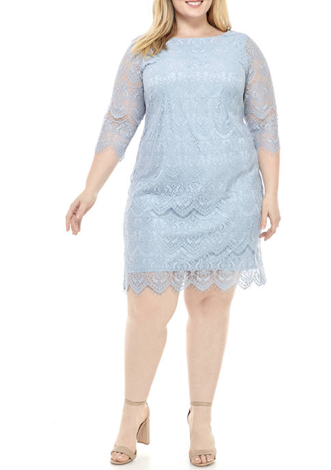 Jessica Howard Plus Size 3/4 Sleeve Lace Shift