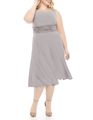 Plus Size 3/4 Sleeve Drape Ruched Jacket Dress