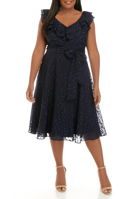 Jessica Howard Plus Size Ruffle V Neck Clip
