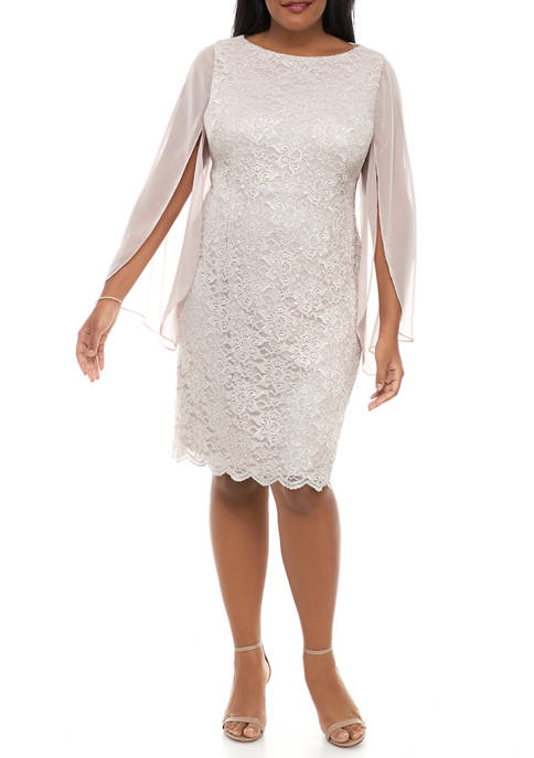 Jessica Howard Plus Size Chiffon Slit Glitter Lace