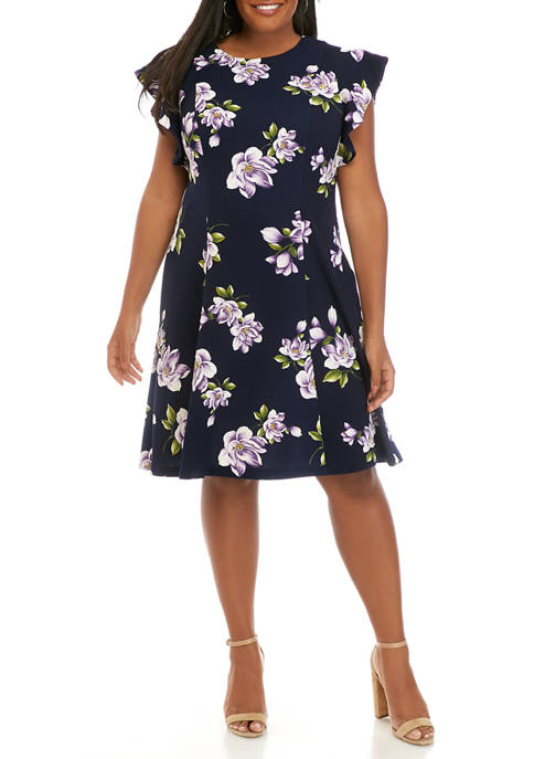 J Howard Plus Size Flutter Sleeve Floral Textured