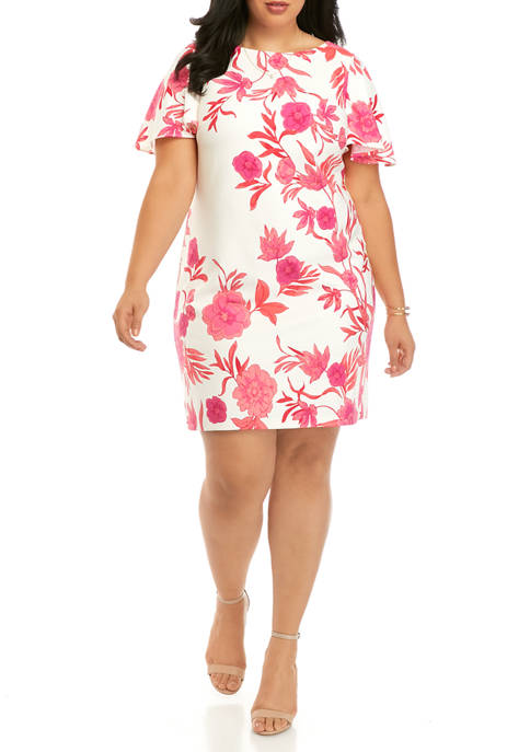 Jessica Howard Plus Size Flutter Sleeve Floral Sheath