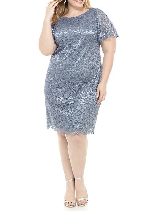 Jessica Howard Plus Size Flutter Sleeve Glitter Lace