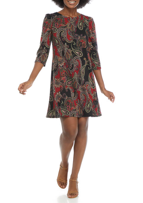 Jessica Howard Womens Paisley Print Knit Dress