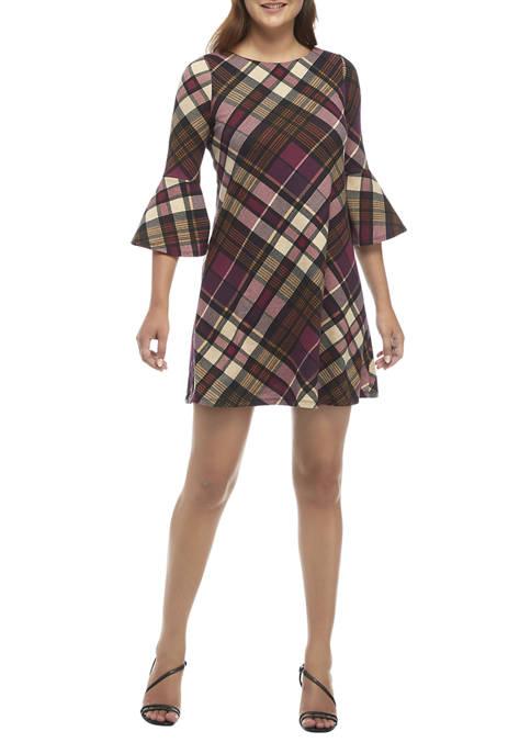 Jessica Howard Womens Bell Sleeve Plaid Dress