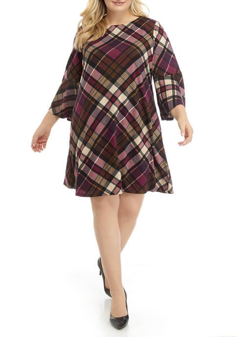 Jessica Howard Plus Size Bell Sleeve Trapeze Dress