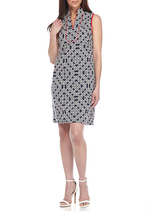Printed Sheath Dress with Piping Trim