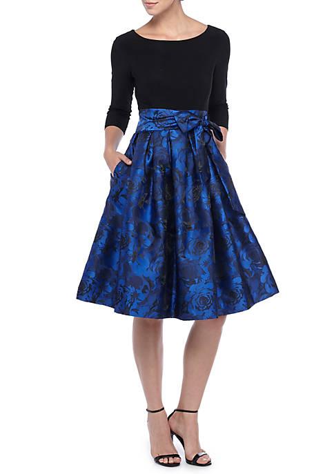 J Howard Floral Printed Tie Waist Fit And Flare Dress Belk