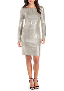 1-Piece Long Sleeve Metallic Novelty Knit Shift Dress