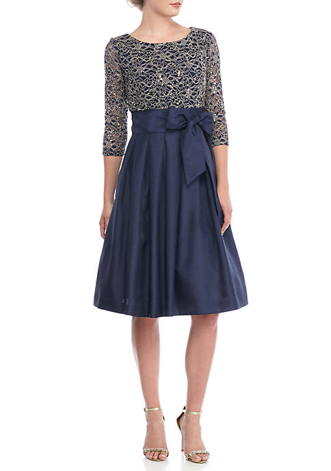 Jessica Howard Lace And Sequin Bodice Fit And Flare Dress