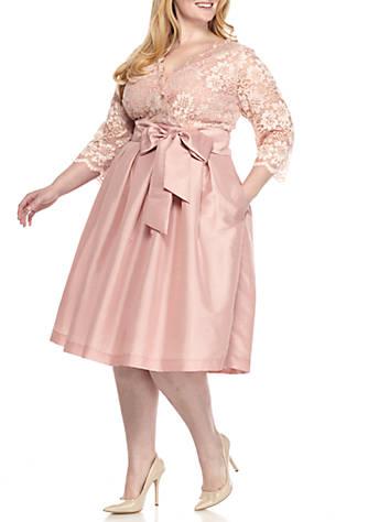Jessica Howard Plus Size Lace Top Three Quarter Sleeve Dress Belk