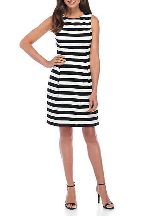 J Howard Sleeveless Stripe Fit-and-Flare Dress