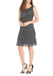 Sleeveless Tiered Dot Chiffon Dress