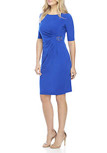 Side-Ruched Dress with Buckle