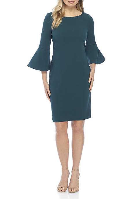 J Howard Long Bell Sleeve Solid Sheath Dress
