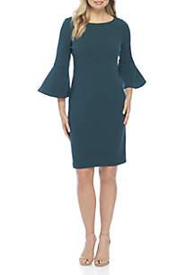 Long Bell Sleeve Solid Sheath Dress