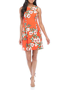 Sleeveless Tropical Print Fit-and-Flare Dress