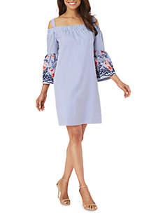 Cold Shoulder Embroidered Bell Sleeve Shift Dress