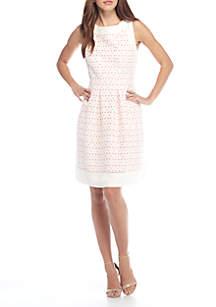 J Howard Eyelet Fit And Flare Dress