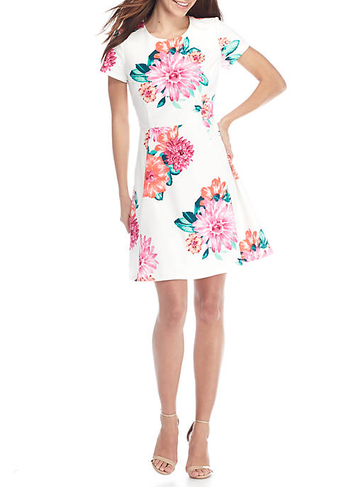 J Howard Floral Print Fit-and-Flare Dress