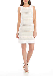 Sleeveless Textured Fit-and-Flare Dress