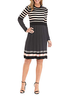 Multi Stripe Fit-and-Flare Sweater Dress