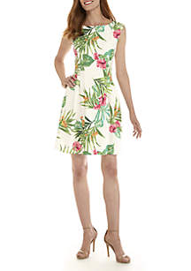 Tropical Printed Cap Sleeve A-Line Dress
