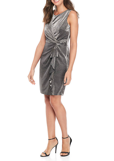 Jessica Howard Sleeveless Glitter Knot Ruffle Dress