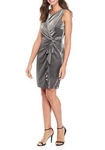 Sleeveless Glitter Knot Ruffle Dress