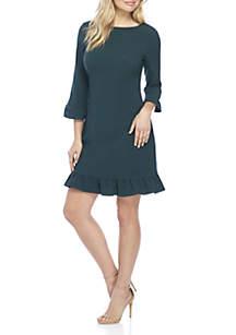 Ruffle Edge Sleeve & Hem Sheath Dress