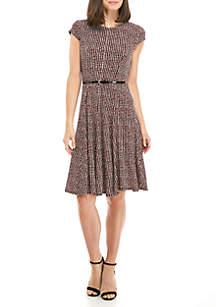 EDV Short Sleeve Houndstooth Belted Dress