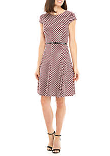 Short Sleeve Small Print Dress with Belt